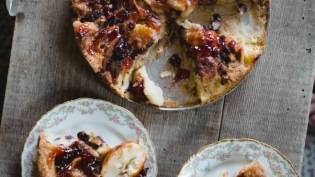 Marian Burros creates a winter version of her classic Plum Torte with apples and cranberries.